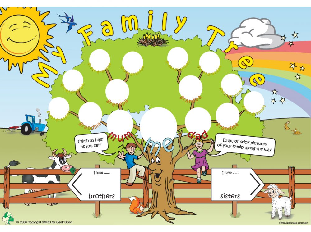 A family tree template for kids where they can draw or stick members of their family
