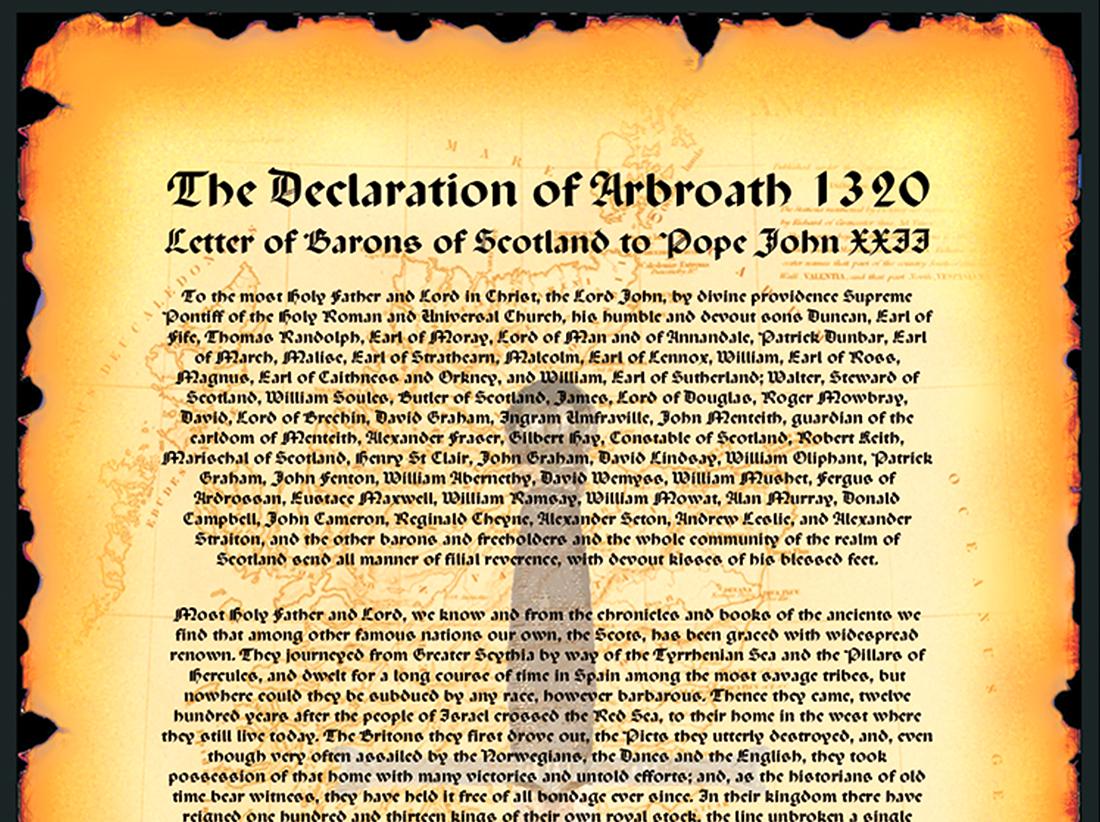 The Declaration of Arbroath 1320 - Souvenir Scroll header