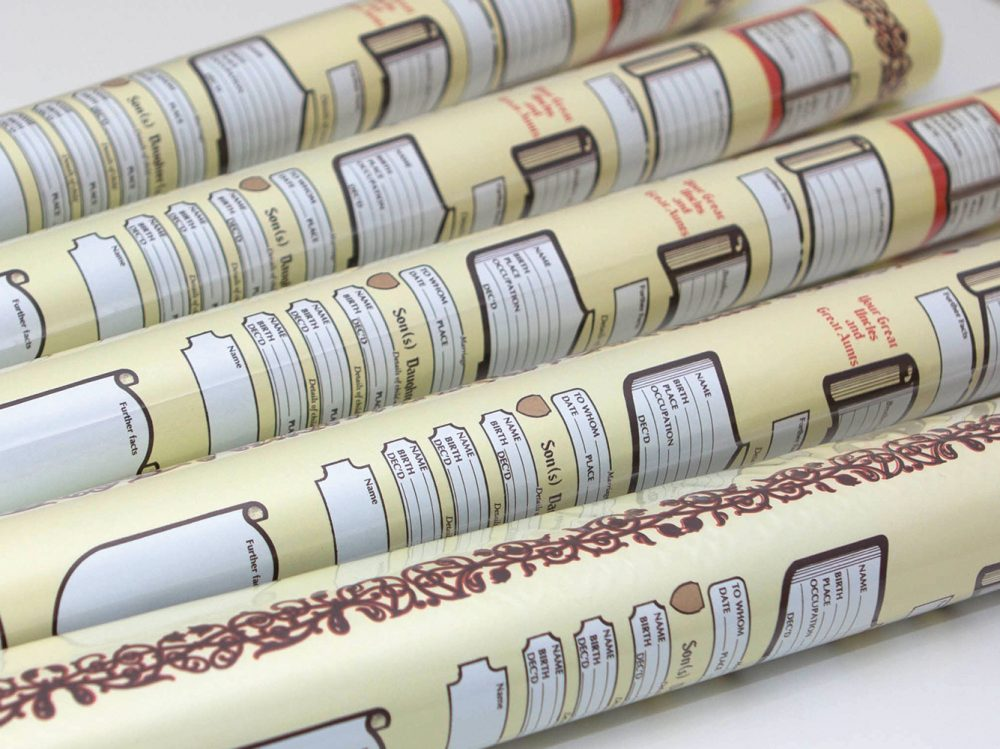 Family tree scroll charts rolled and ready for posting