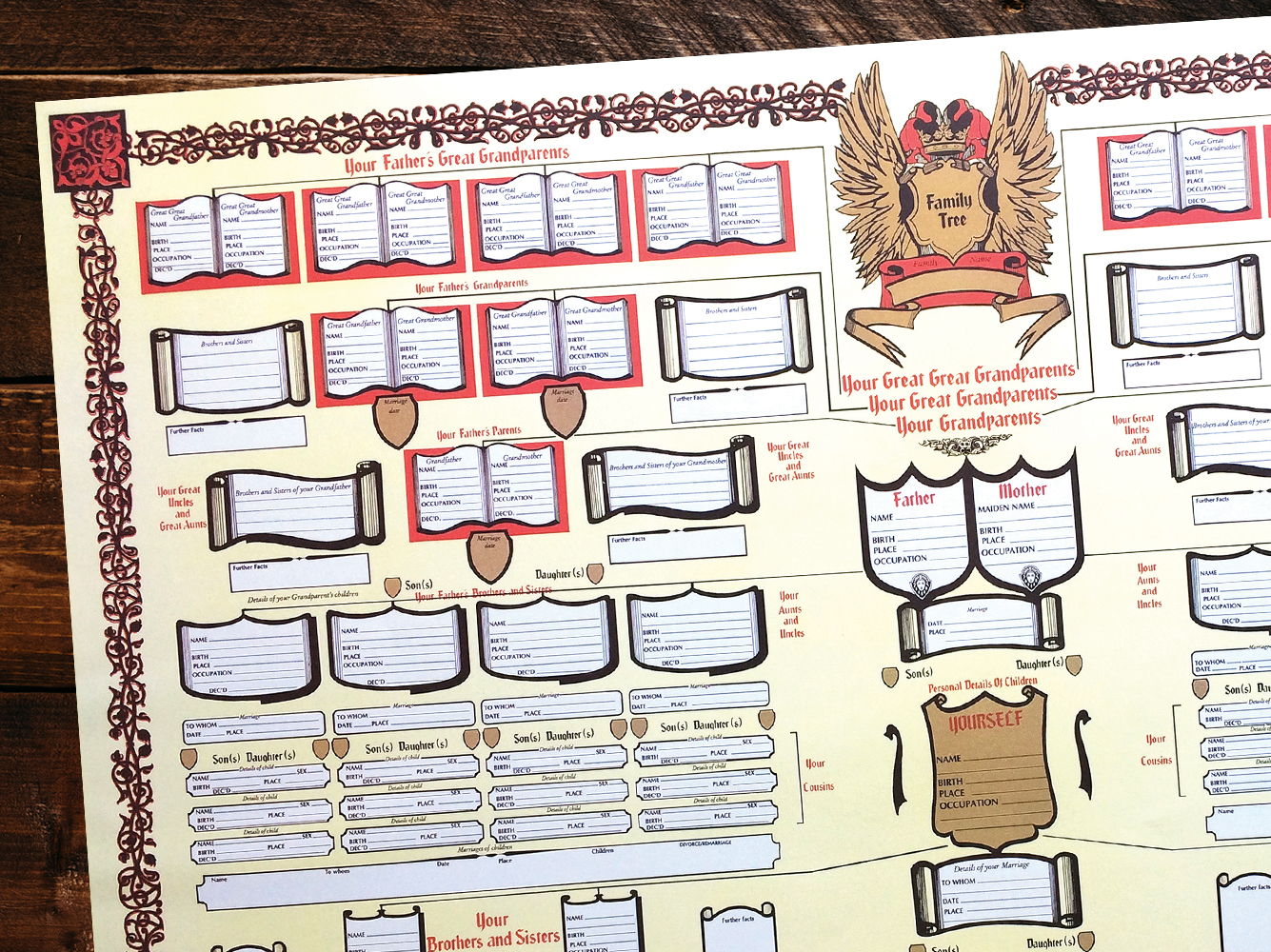 Family Tree Chart - Four generations of family to record